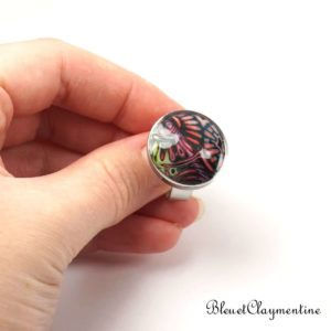 Bague abstraite rouge et noir – mokume gane – hidden magic -en argile polymère