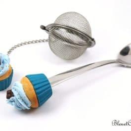 Boule à thé et cuillère – Ensemble cupcake bleu