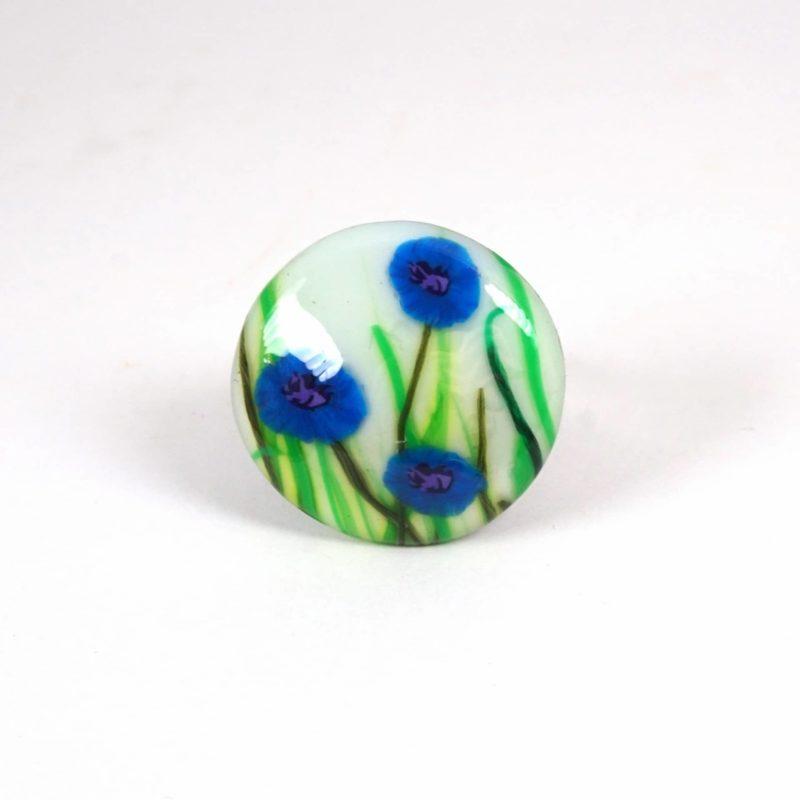 bague fleurs bleu fimo polymère