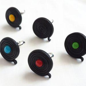 Bague Réglisse noir et bonbon coloré