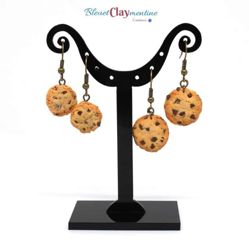 boucles d'oreilles cookies polymère fimo