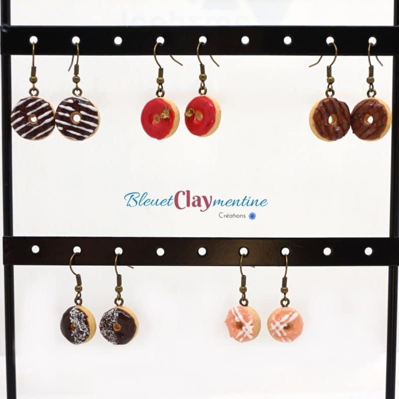 boucles d'oreilles donut polymère fimo