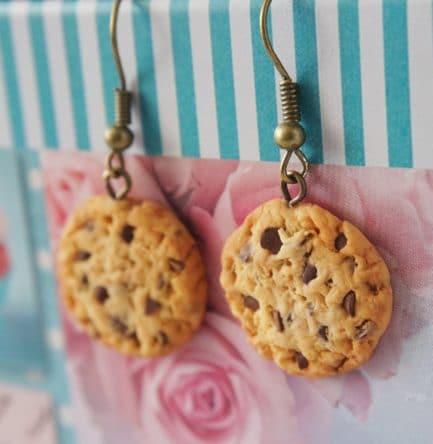 boucles oreilles cookies polymère fimo