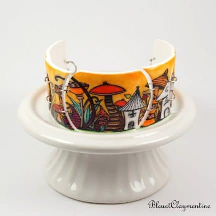 bracelet féerique nature orange fimo polymère