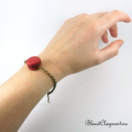 bracelet macaron rouge polymère fimo