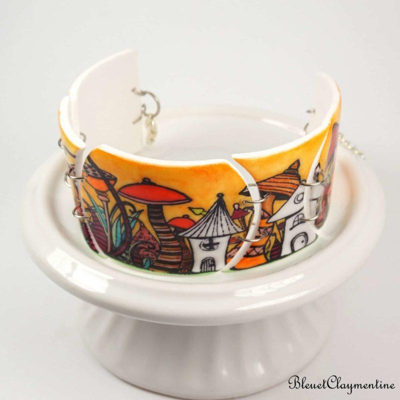 bracelet nature orange fée lutin polymère