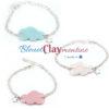 bracelet nuage bleu blanc rose fimo polymère