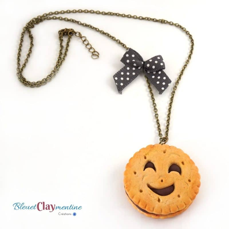 collier biscuit bn polymère fimo