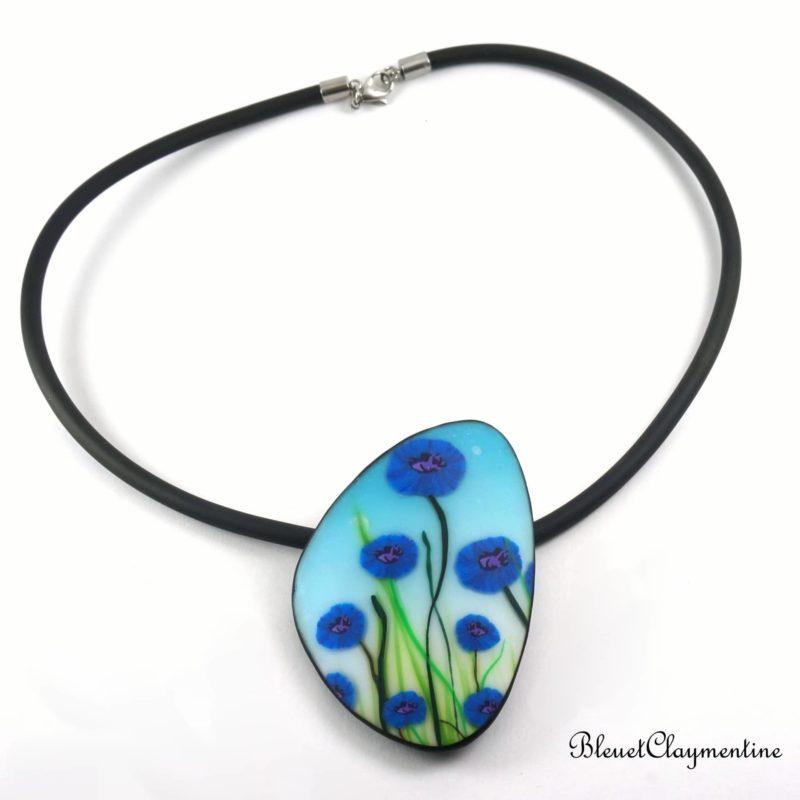 collier bleuets fleurs polymère