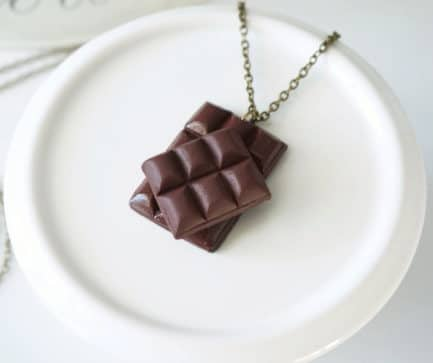 collier chocolat fimo