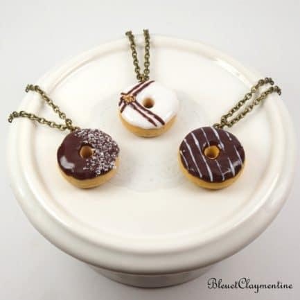 collier donut polymère fimo