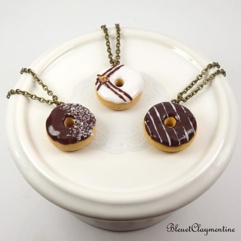 collier donut polymère fimo