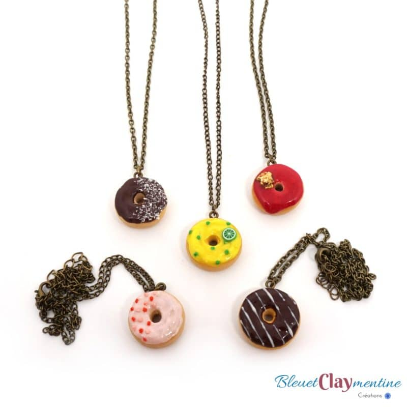 collier donuts polymère fimo