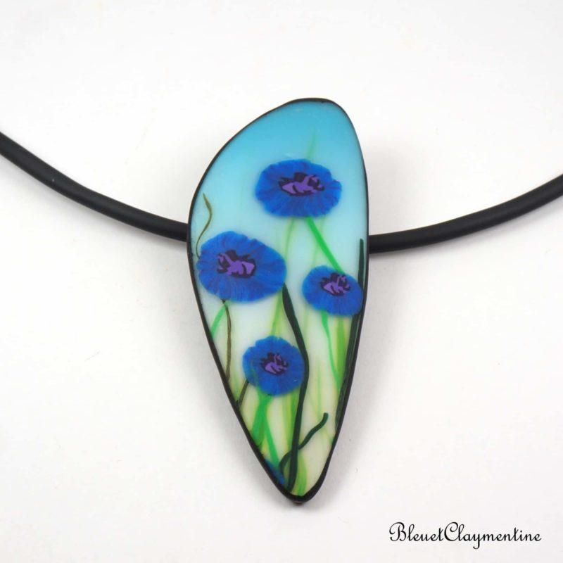 collier fleurs bleuets poymère