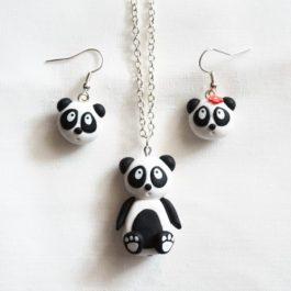 Parure Panda – Collier et boucles d'oreille