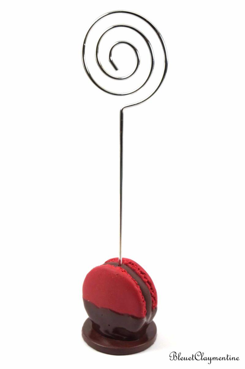 porte photo marque place macaron rouge chocolat polymère fimo
