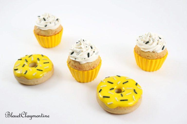 donut cupcake jaune polymère fimo