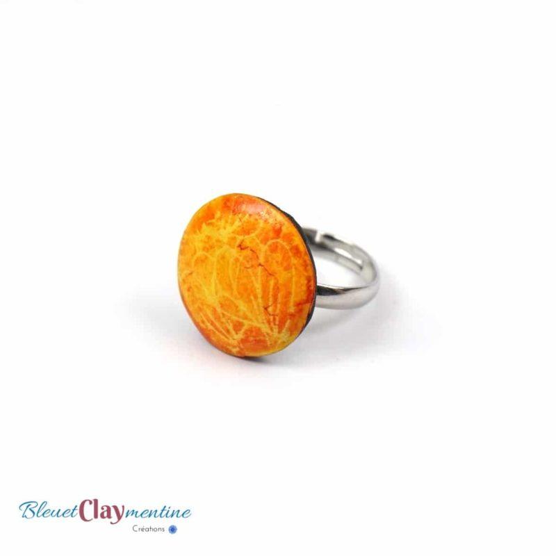 bague jaune orange ronde polymère fimo cernit