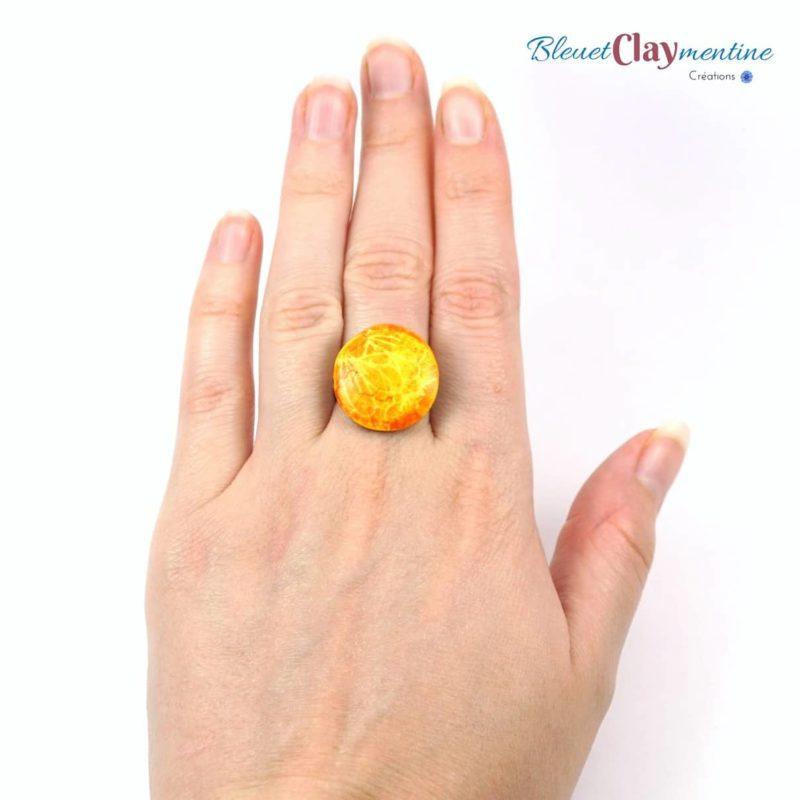 bague jaune ronde polymère fimo cernit main