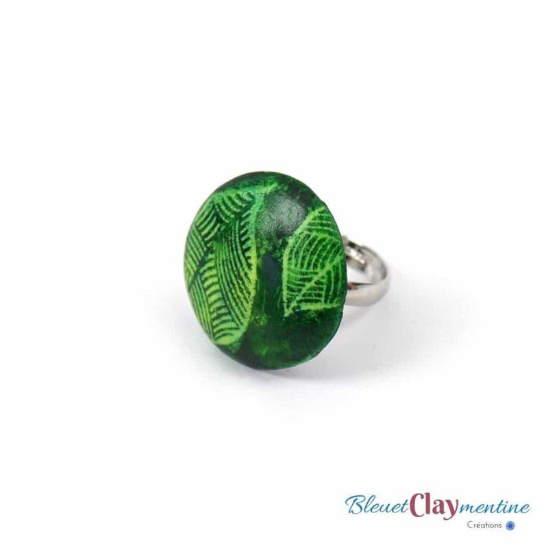 bague verte feuille batik polymère fimo cernit