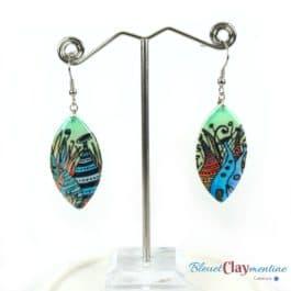Boucles d'oreille futuriste féerique verte et bleu