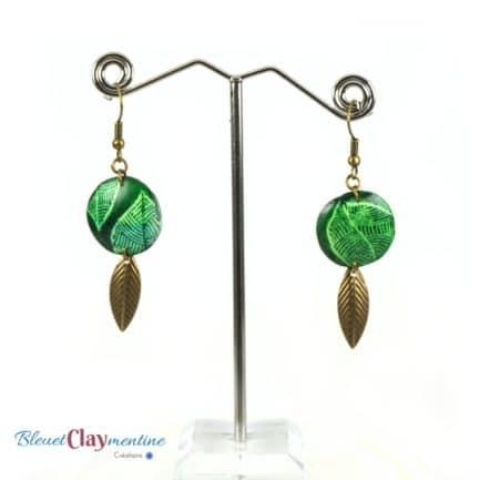 boucles oreilles verte batik polymère fimo cernit