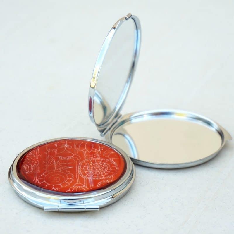 miroir rond décoré rouge nature polymère fimo