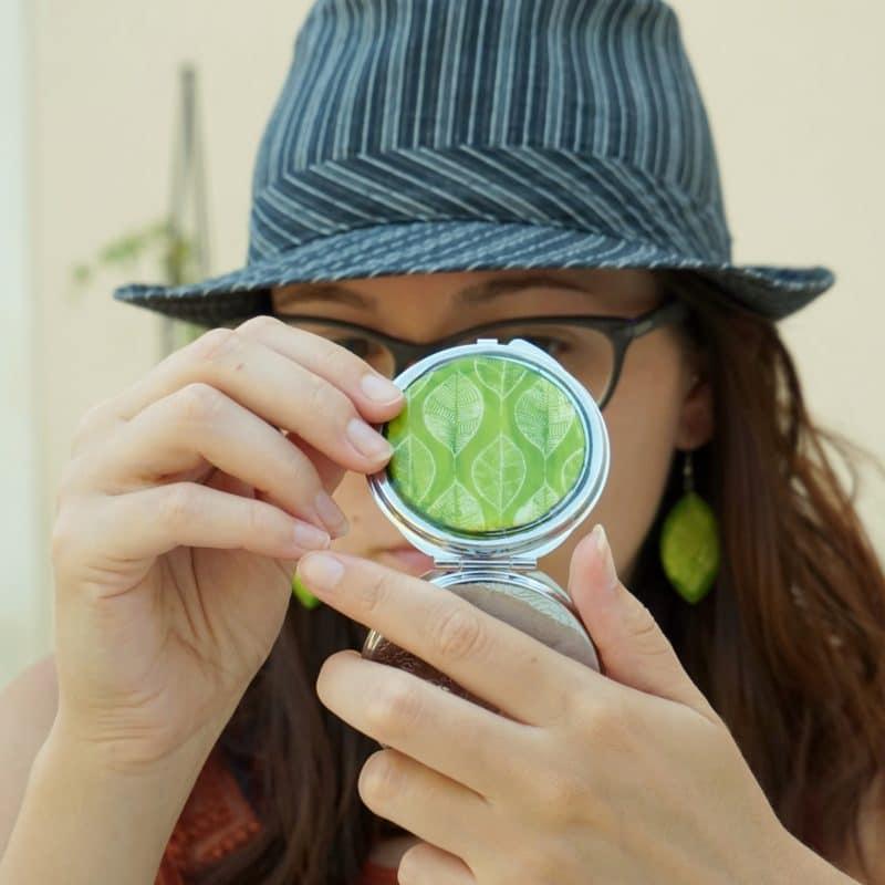 miroir vert feuilles verte polymère fimo