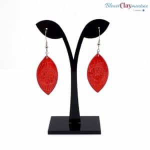 Boucles d'oreille fleurs rouges – effet batik