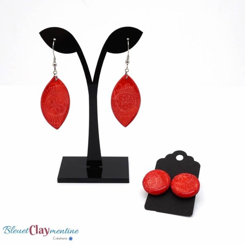 boucles oreilles rouge fleurs polymere fimo cernit