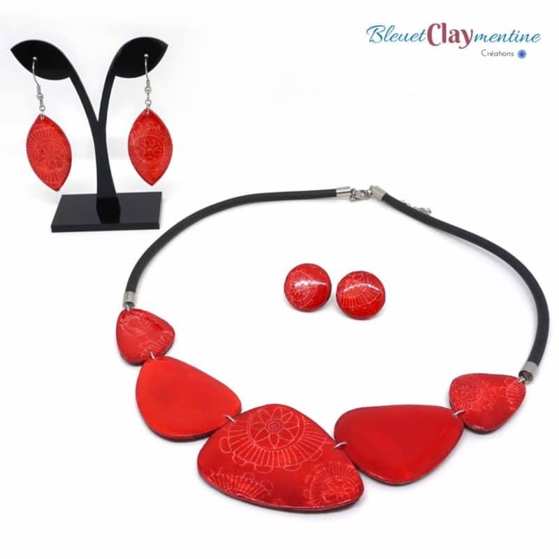 collier boucles oreilles batik rouge - nature fleurs - polymere fimo