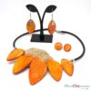 collier parure batik orange polymère
