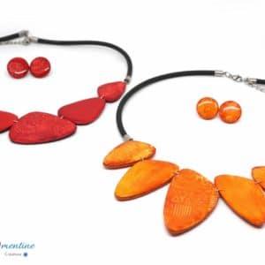 Collier ethnique orange motifs aztèques – effet batik