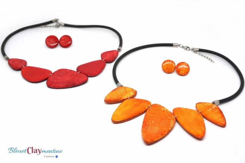 colliers boucles oreilles batik - nature - polymere - rouge - orange