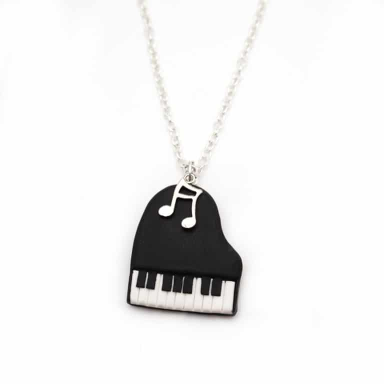 collier piano note de musique polymère fimo
