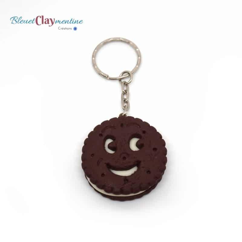 porte clés bn chocolat polymère fimo - keychain