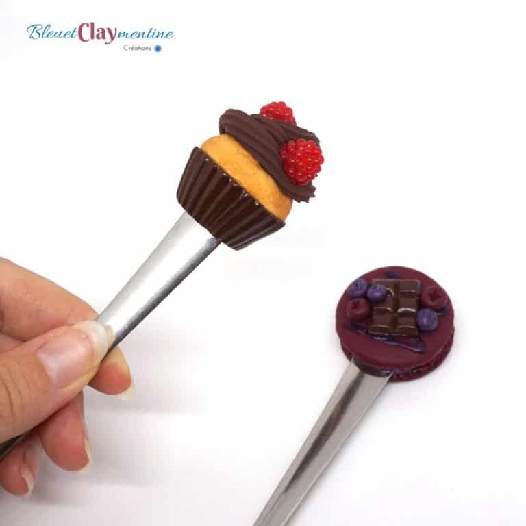 cuillères cupcake macaron polymère fimo