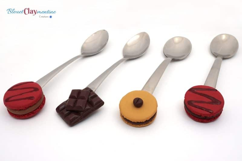 cuillères gourmandes macaron chocolat polymère fimo