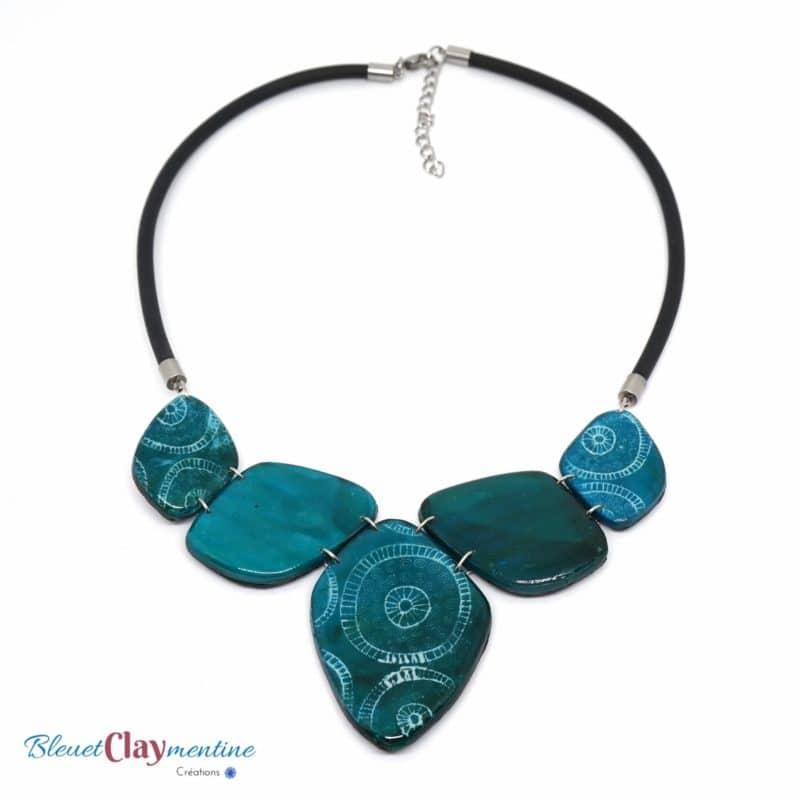 collier bleu vert inspiration nature ocean polymer clay