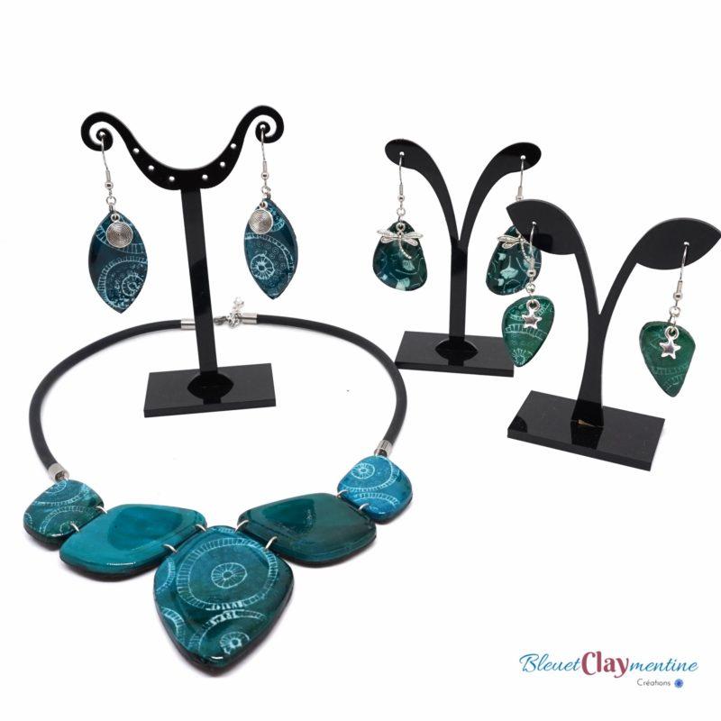 collier boucles oreilles ocean bleu vert polymerclay