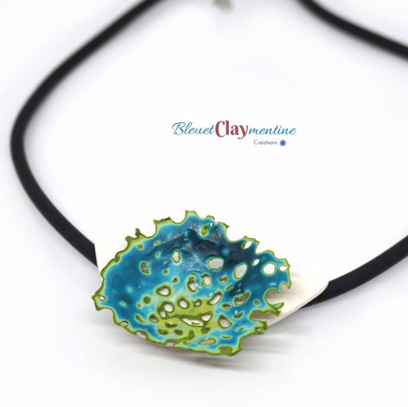 colliers artisanaux inspiration végétal ocean coraux bleu vert polymerclay
