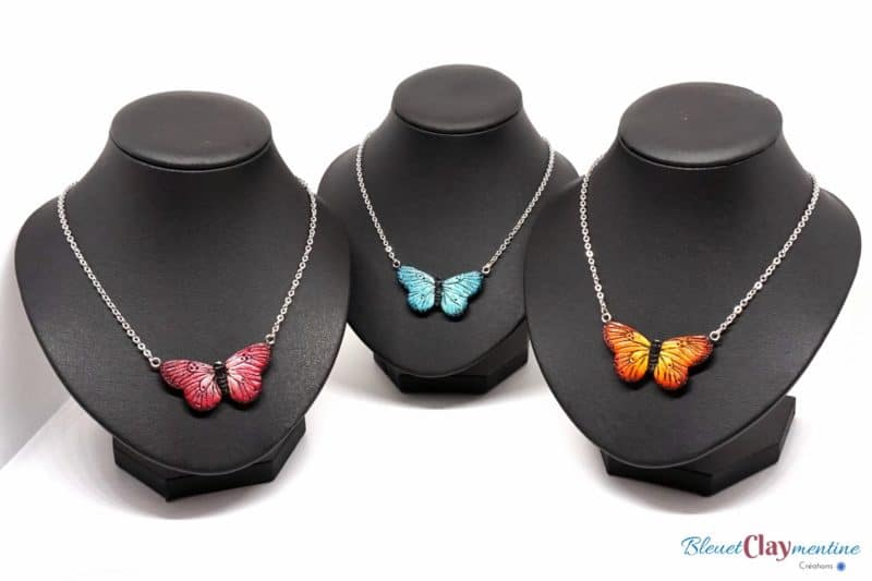 polymerclay butterfly necklace pink blue orange