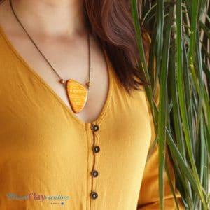 Collier motifs ethniques inspiration aztèque orange et brun
