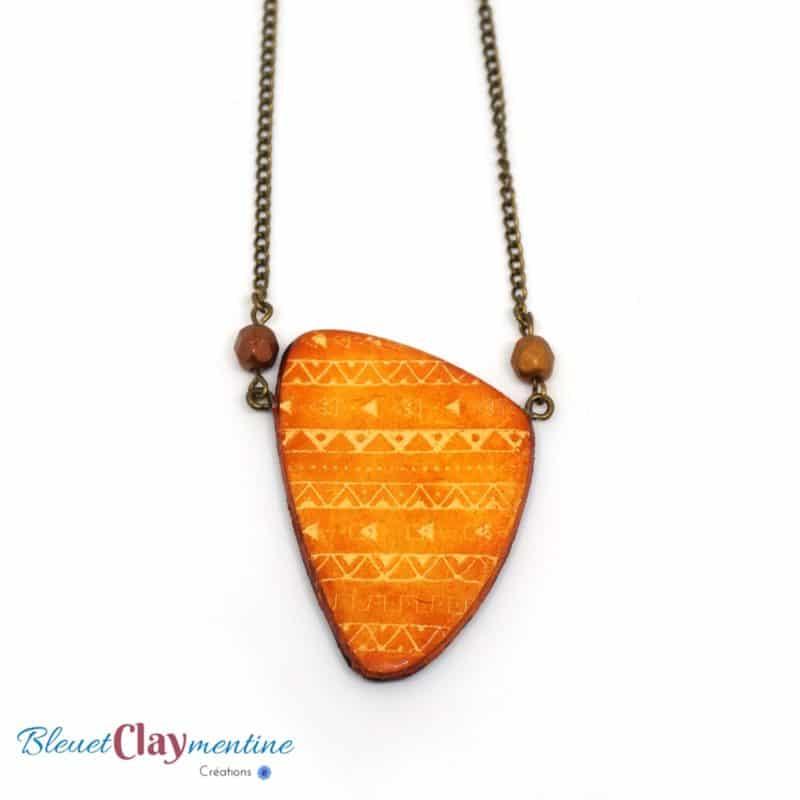 collier aztèque orange brun polymère