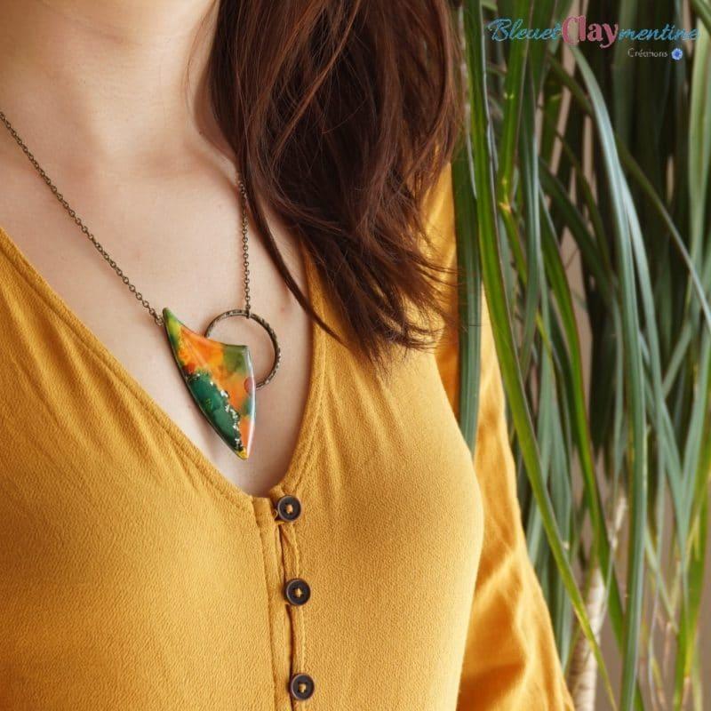 Collier fantaisie aquarelle polymère orange et vert