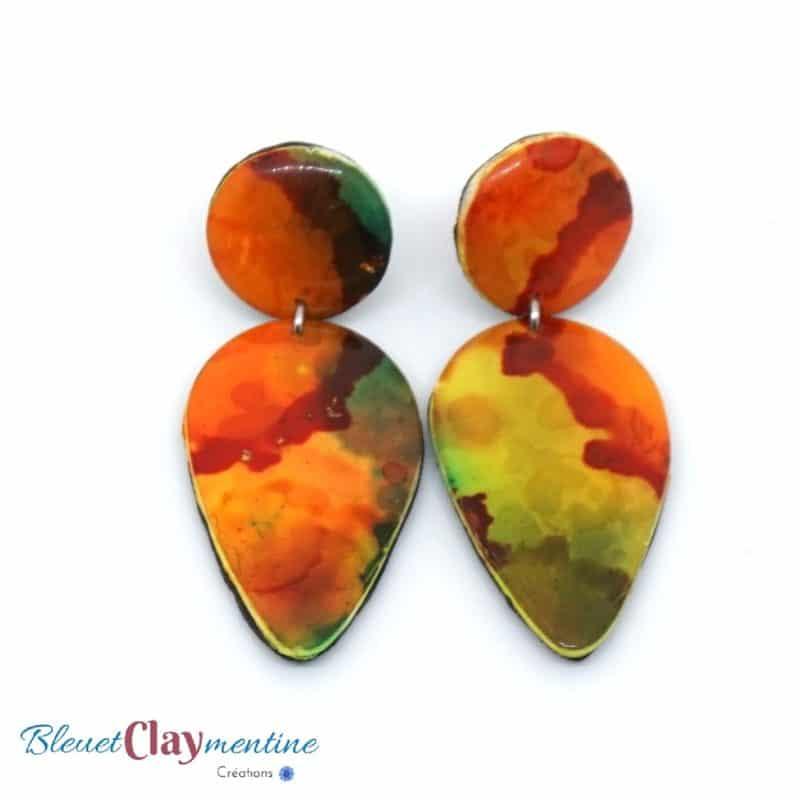 boucles d'oreilles aquarelle orange et verte en polymère