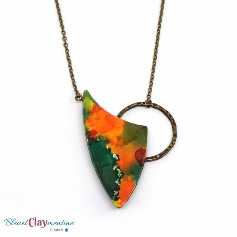collier moderne inspiration aquarelle polymère