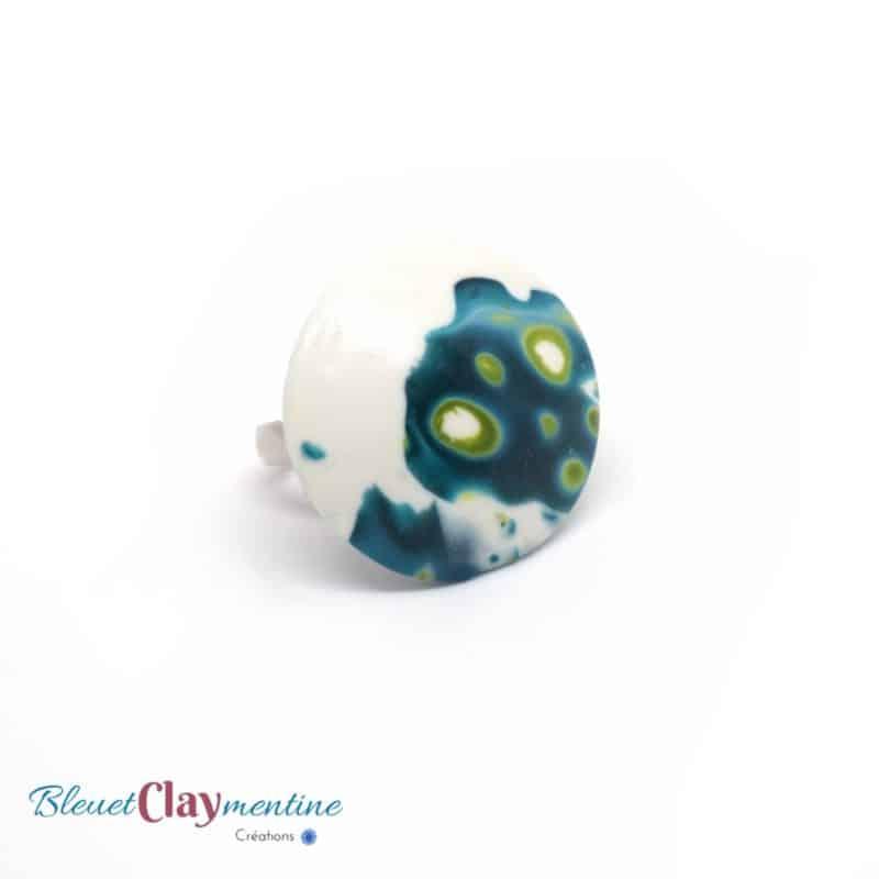Bague meteora bleu vert blanc polymère