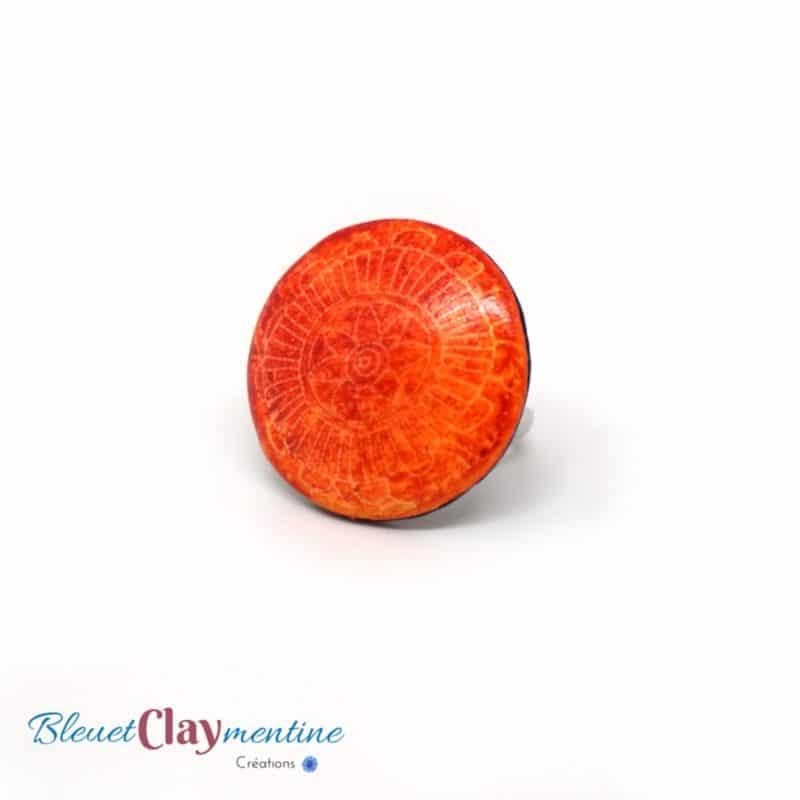 bague fleur orange batik polymère