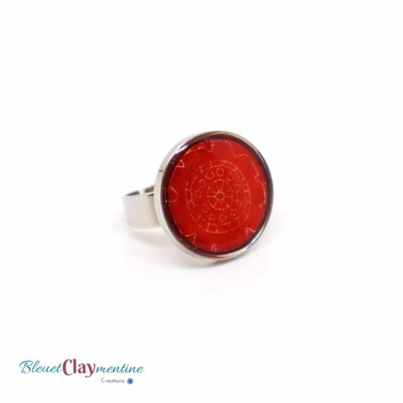 bague fleur rouge batik polymerclay